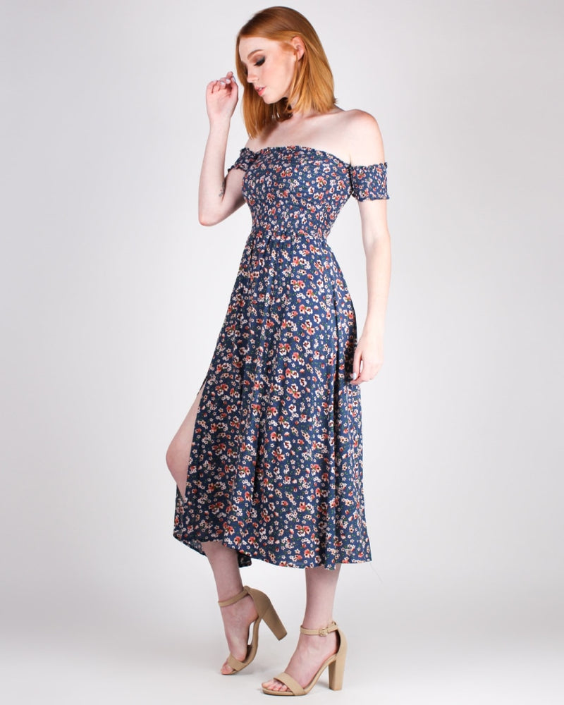 One Grand Smocking Adventure Floral Maxi Dress (Dusty Blue) Dresses