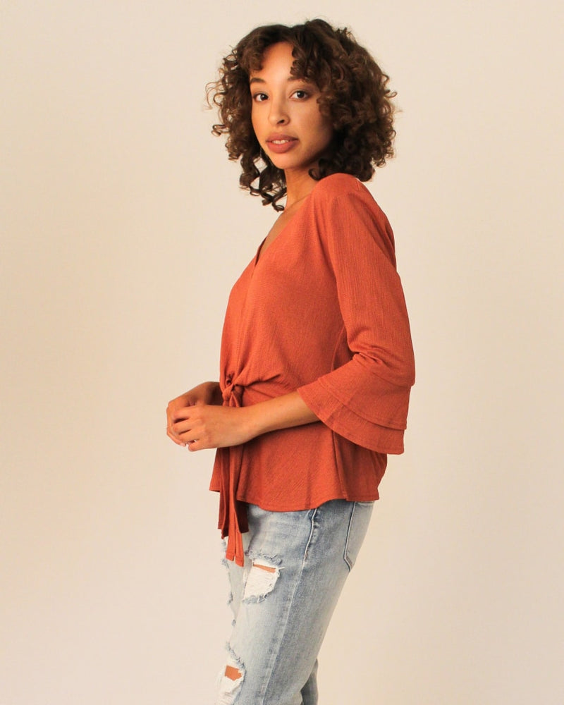 Peplum Blouse With Front Tie And Belled Sleeves S / Brick Tops