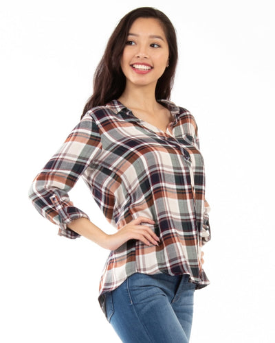 Perfectly Plaid Button Down Top Tops