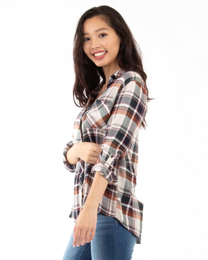 Perfectly Plaid Button Down Top S / Brown Multi Tops