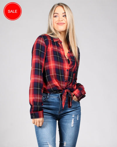 Plaid Influence Button Front Top S / Red Tops