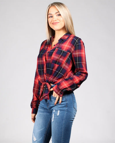 Plaid Influence Button Front Top Tops