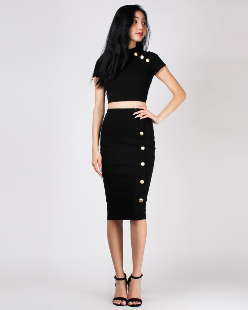 Play Me Close Pencil Skirt Black / S Bottoms