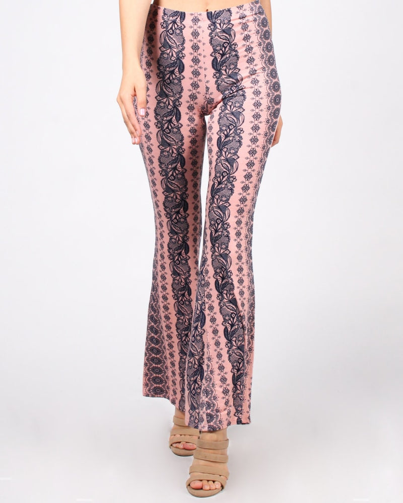 Radiate Positivity Bell Bottom Printed Pants S / Rose Bottoms