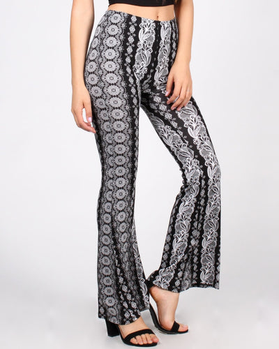 Radiate Positivity Bell Bottom Printed Pants Bottoms