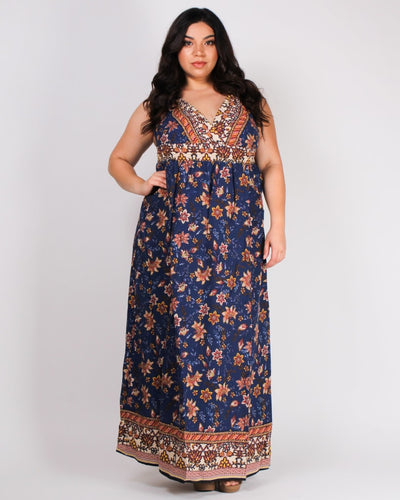 Ready For Take-Off Paisley Maxi Dress 1X / Navy Dresses