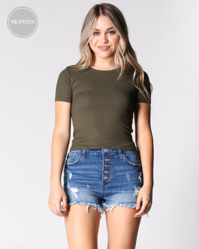 Reap The Rewards Ribbed Top Olive / S Tops