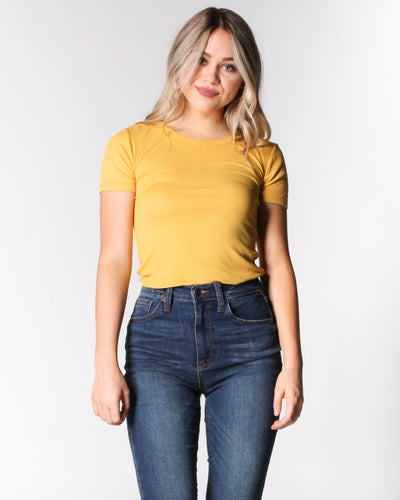 Reap The Rewards Ribbed Top S / Honey Yellow
