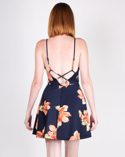 Release Allow Flow And Grow Floral Sundress (Navy) Dresses