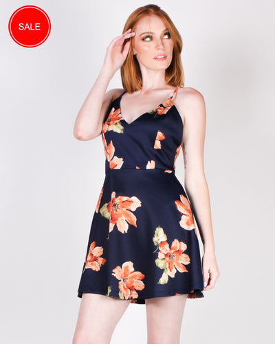Release Allow Flow And Grow Floral Sundress (Navy) Navy / S Dresses