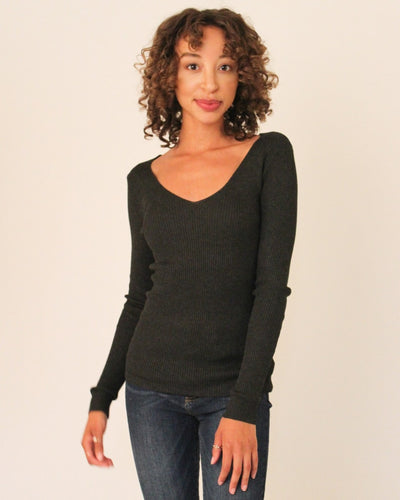 Ribbed Pullover Sweater S / Dark Grey Tops