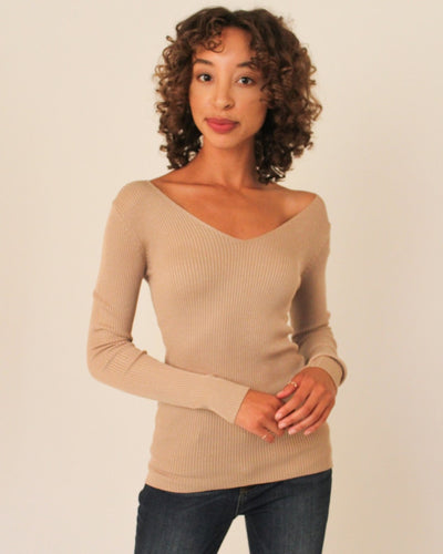 Ribbed Pullover Sweater S / Tan Tops