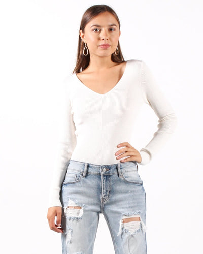 Ribbed Pullover Sweater S / White Tops