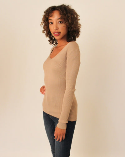 Ribbed Pullover Sweater Tops