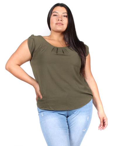 Rise Flower Petal Top 1X / Army Green