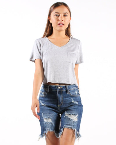 Rock The House V-Neck Crop Top S / Grey Tops