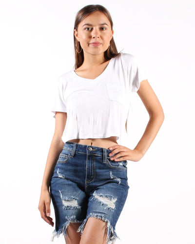 Rock The House V-Neck Crop Top S / White Tops