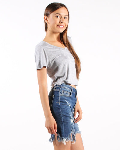 Rock The House V-Neck Crop Top Tops