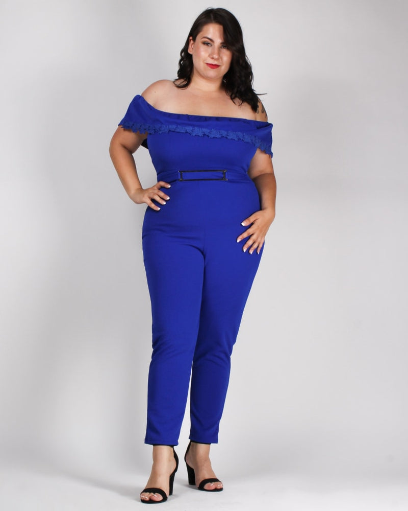 Roses Rarest Essence Plus Jumpsuit Royal / 1X