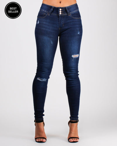 Say Yes To New Adventures Skinny Jeans (Dark) Dark / 0 Bottoms