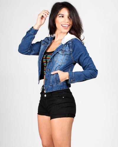 Secret Of Hooded Denim Jacket Outerwear
