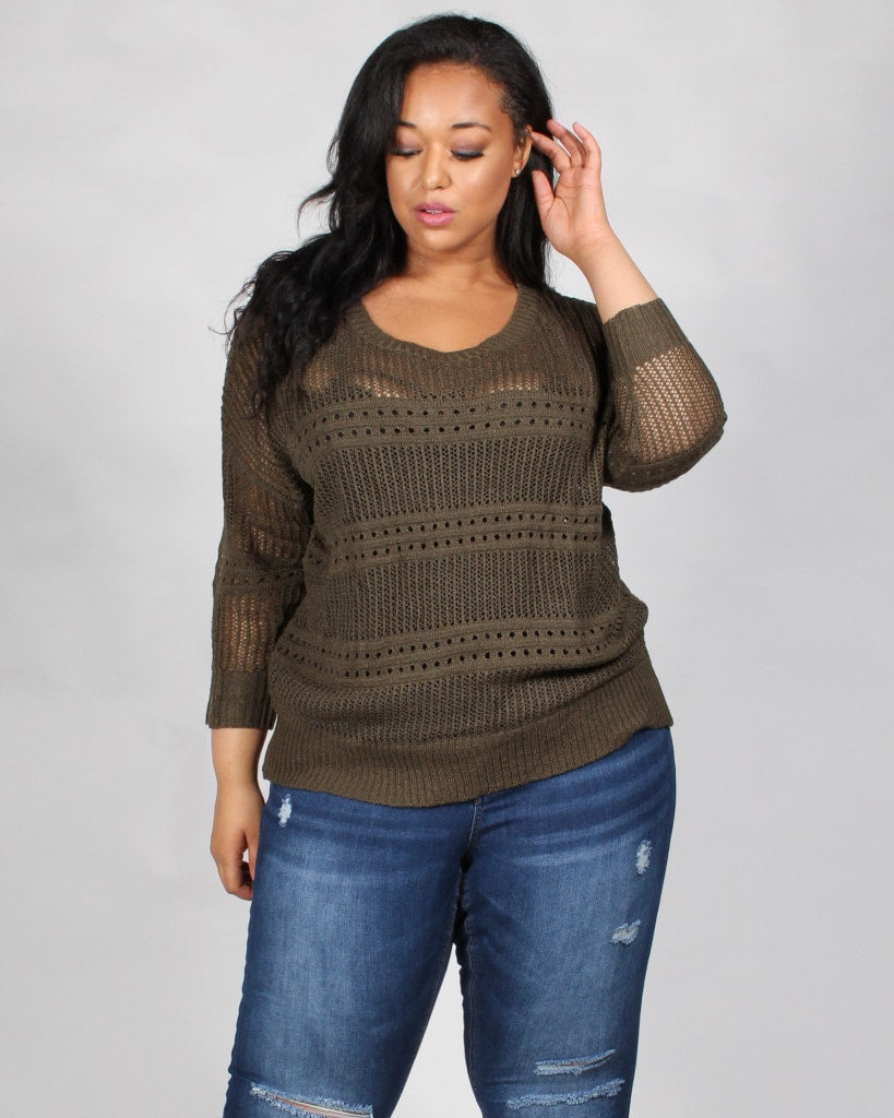 Seek And You Shall Find Knit Plus Sweater 1X / Olive Tops
