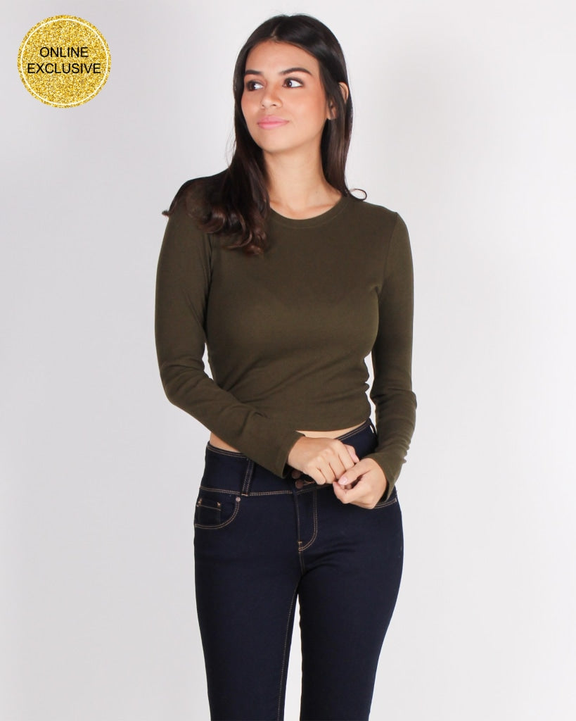 Self-Love Club Crop Top (Dark Olive) Dark Olive / S Tops