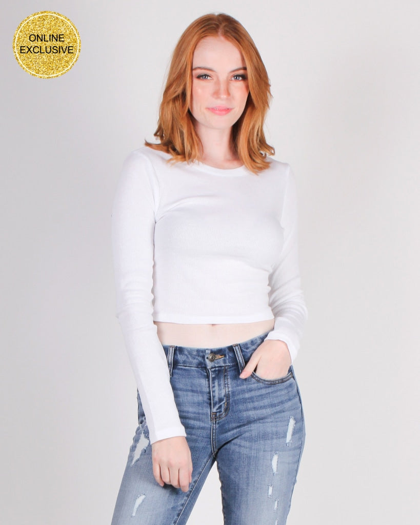 Self-Love Club Crop Top (White) White / S Tops