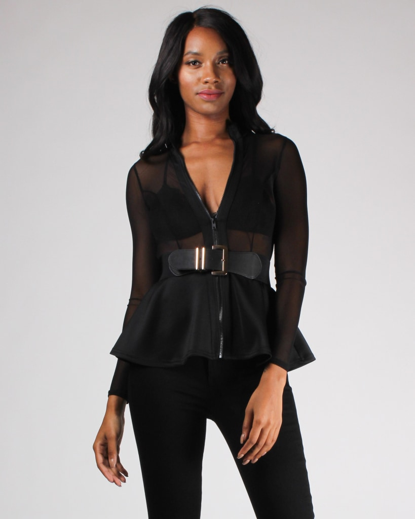 Sheer Wonder Peplum Top S / Black Top