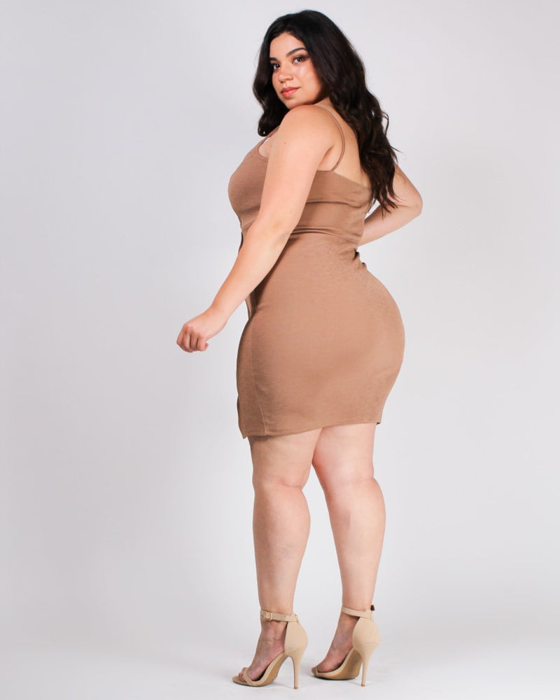 Shine Bright Bodycon Plus Dress Camel / 1X Dresses