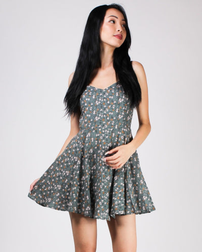 Shine Bright Floral Sundress Sage / S Dresses