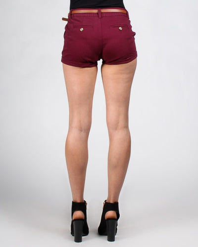 Short Shorts With Belt Bottoms