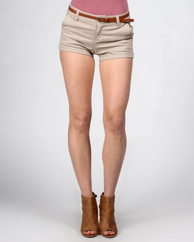Short Shorts With Belt S / Light Khaki Bottoms