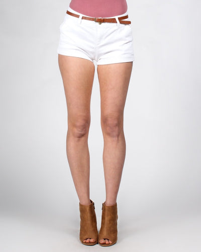 Short Shorts With Belt S / White Bottoms