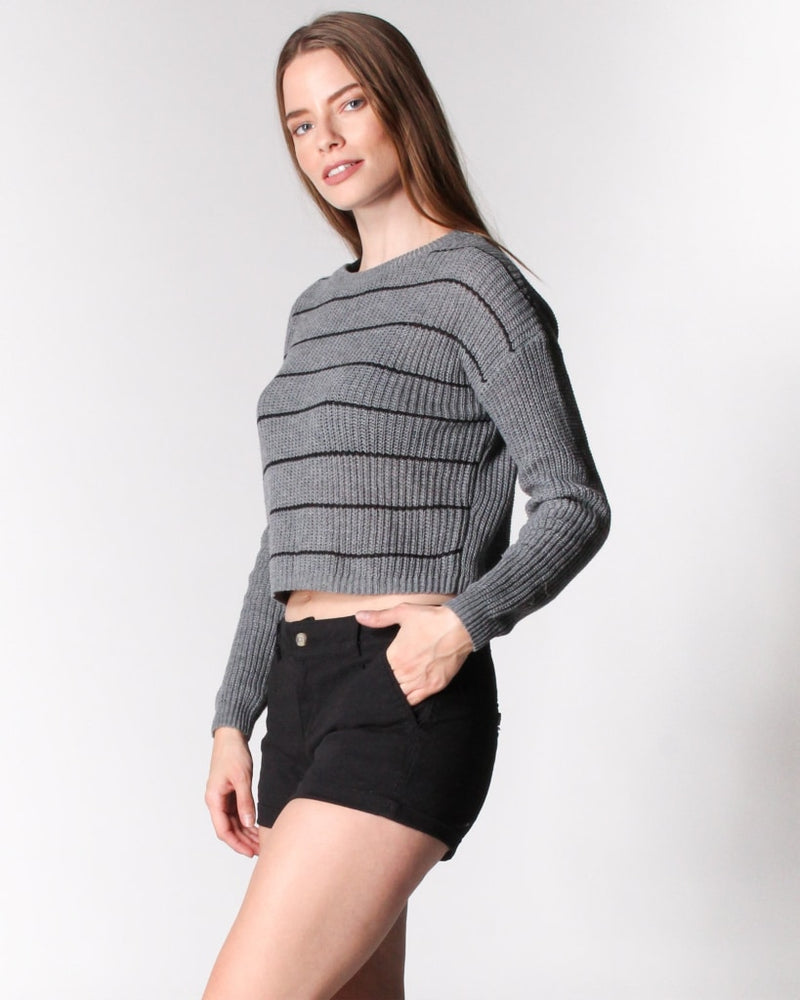 Simply Striped Sweater S / Grey