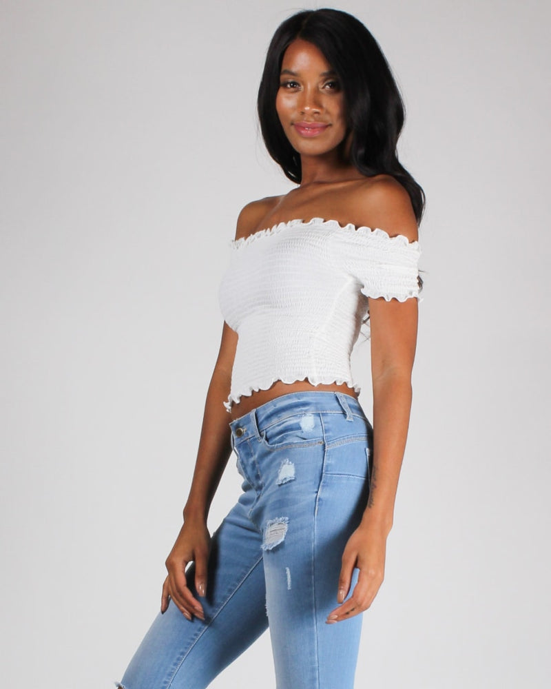 Smockingly Amazing Crop Top S / White Top