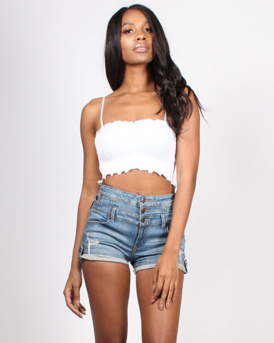 Smockingly Perfect Crop Top S / White Tops