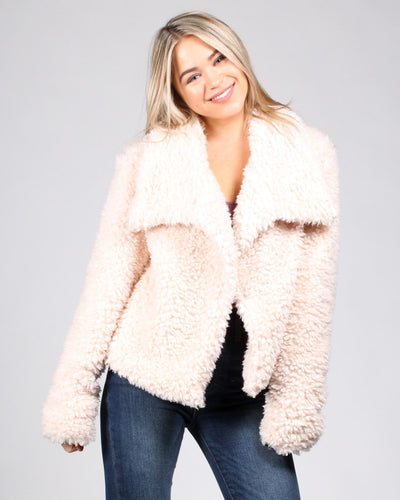 So Fluffing Cute Faux Fur Jacket S / Beige Outerwear