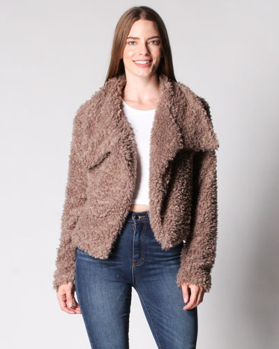 So Fluffing Cute Faux Fur Jacket S / Toffee Outerwear