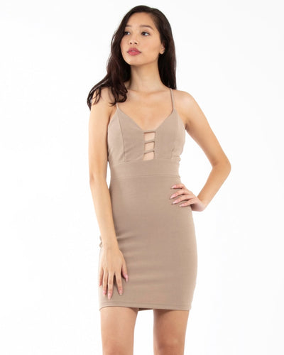 Spotlight On You Bodycon Dress S / Taupe Dresses