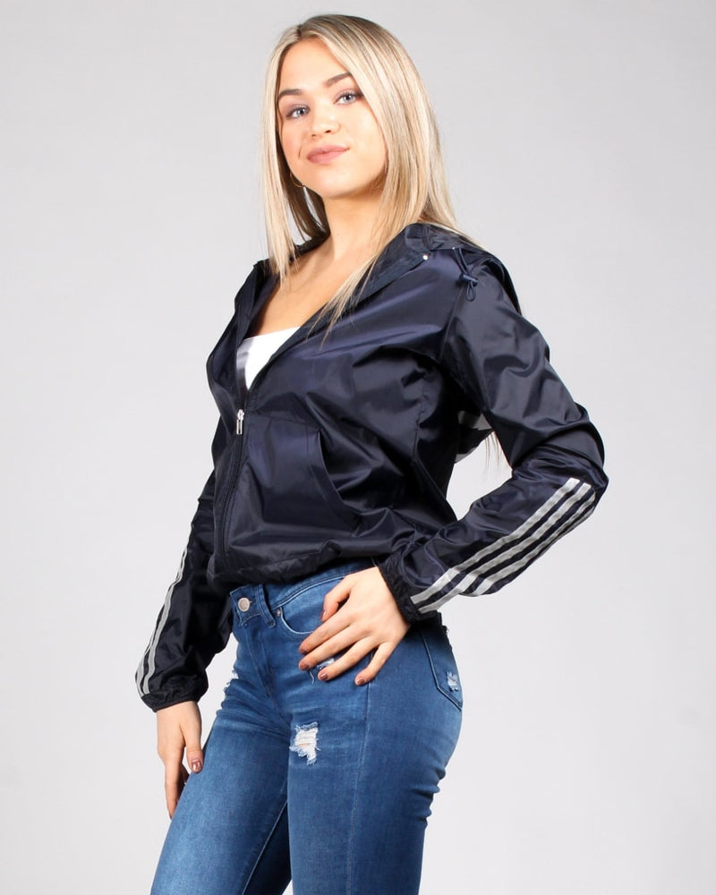 Spread The Love Reflective Stripes Print Zip Up Jacket S / Navy Outerwear