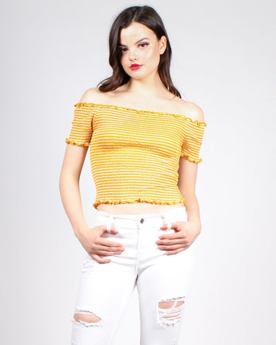 Stripe In The Name Of Love Crop Top S / Mustard/white Stripes Tops