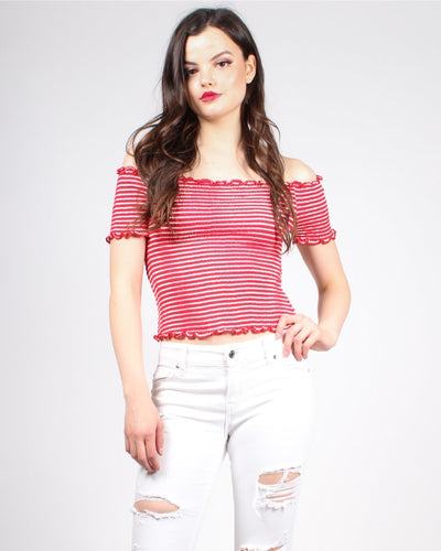 Stripe In The Name Of Love Crop Top S / Red/white Stripes Tops