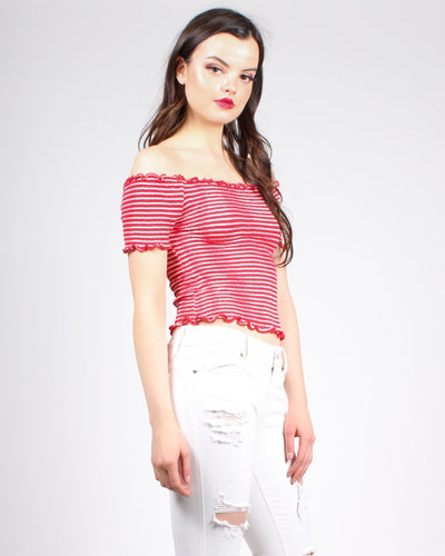 Stripe In The Name Of Love Crop Top Tops