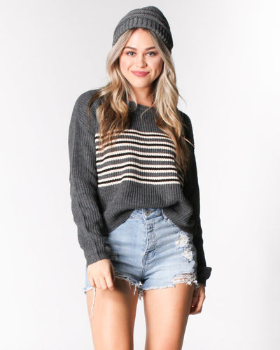 Stripes-Capade Knit Sweater S / Charcoal Stripe Tops