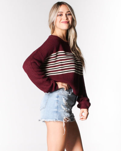 Stripes-Capade Knit Sweater Tops