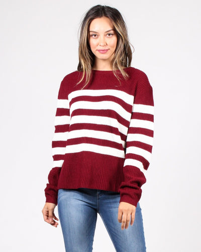 Stripes R Us Sweater S / Burgundy Tops