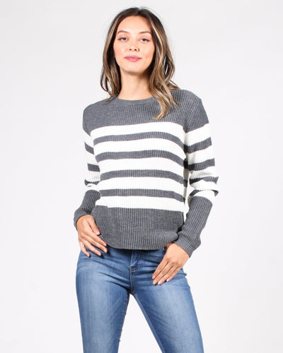 Stripes R Us Sweater S / Grey Tops