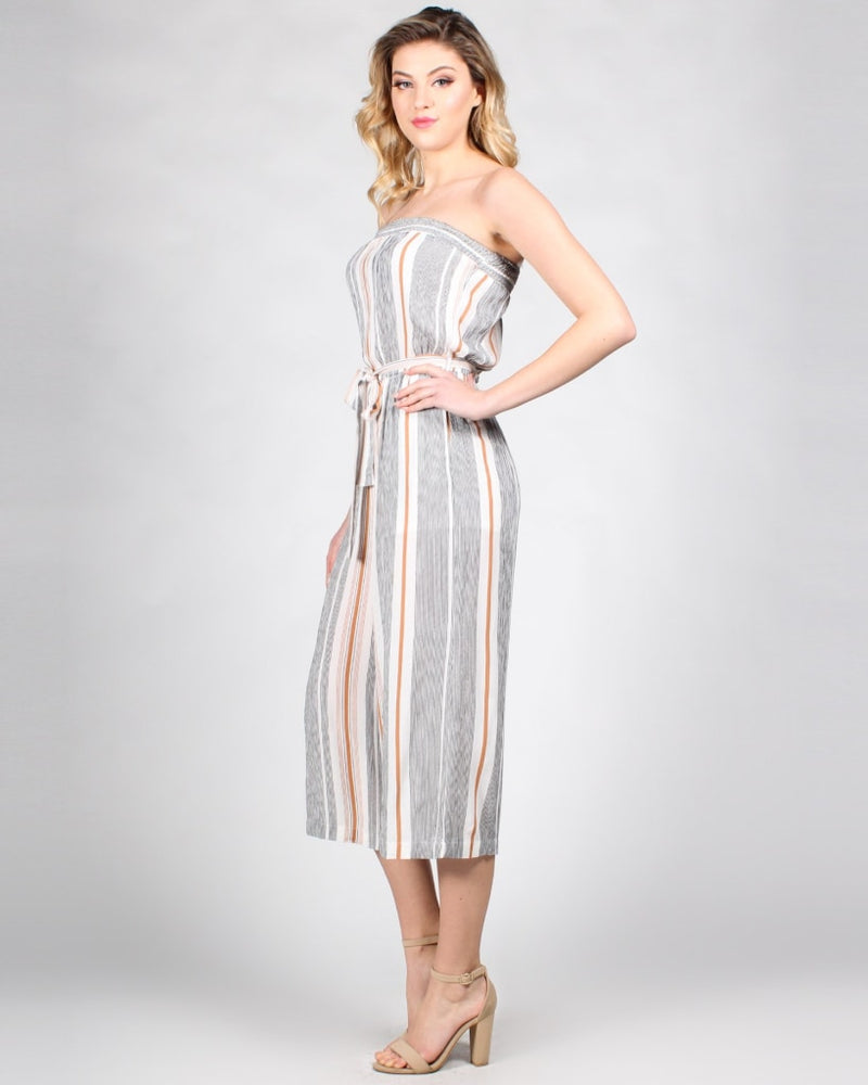 Strips-Sence Jumpsuit S / Ivory/grey/toffee Stripes