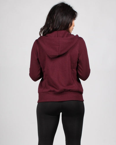 Stronger Than Yesterday Zip-Up Hoodie (Maroon) Outerwear